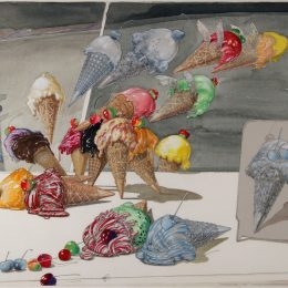 American, born 1925 Cherries and Cones, Summer, Washington Boro, Penna, 1980 graphite, watercolor, gouache, pastel, wax crayon, collage on paper 1981.010.0001