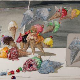 American, born 1925 Cherries and Cones, Summer, Washington Boro, Penna, 1980 graphite, watercolor, gouache, pastel, wax crayon, collage on paper 1981.010.0001