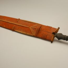 Sword with Sheath Congo Woodwork, African; Songye Iron, wood, fibers, pigment Gift of Harrison Eiteljorg 1978.018.0002